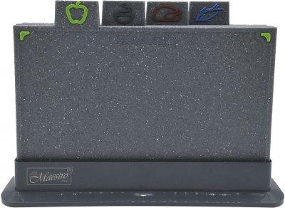 Набор Maestro 4 разделочных доски 29 х 19.5 см + подставка (MR1787G)