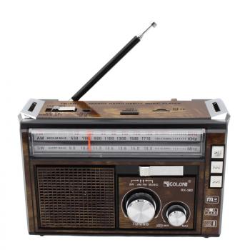 Портативний радіоприймач всехвильовий з телескопічною антеною GOLON RX-382 Цифрове міні радіо з Bluetooth + USB mp3, WMA бездротовий FM/AM мережевий і акумуляторний