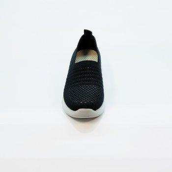 Сліпони жіночі чорні трикотажні на маленькій білій платформі літні, Fashion, 5265чор