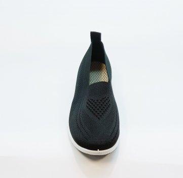 Сліпони жіночі чорні трикотажні на маленькій білій платформі літні, C-1, Fashion