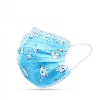 Детские медицинские маски ВОЛЕС трехслойные голубые с рисунком 50 штук