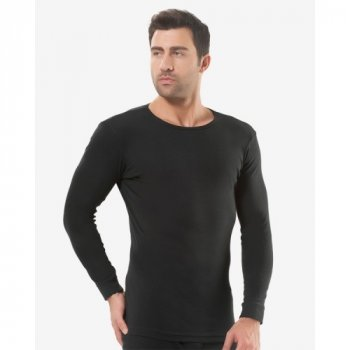 Чоловіча футболка з довгим рукавом (лонгслів) Oztas 1021-A чорна 100% бавовна