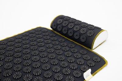 Набір килимок акупунктурний масажний + подушка Аплікатор Кузнєцова OSPORT (n-0002) Чорно-чорний