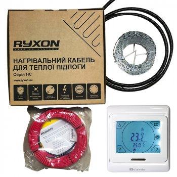 Тонкий двожильний кабель Ryxon HC-20-10 м в комплекті з механічним терморегулятором Castle M5