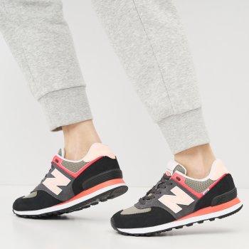 Кроссовки New Balance WL574ST2 Черные с розовым