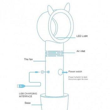 Безлопатевої вентилятор UKC акумуляторний ручний портативний з підставкою і підсвічуванням, заряджається від USB-кабелю 23 см Бірюзовий (2323-S1)