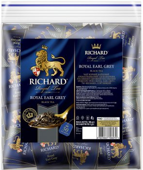 Чай Richard черный Royal Earl Grey с бергамотом 50 пакетиков (4823063706070)