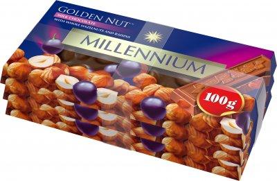 Упаковка шоколада Millennium молочного с цельным орехом и изюмом 3 шт х 100 г (4820005192953)
