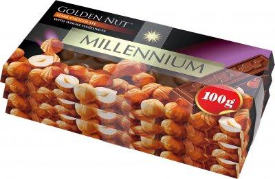Упаковка шоколада Millennium черного с цельным орехом 3 шт х 100 г (4820005193080)
