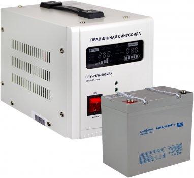 Комплект резервного живлення для котла LogicPower 500 + мультигелева батарея 590 ватів (LP14020)