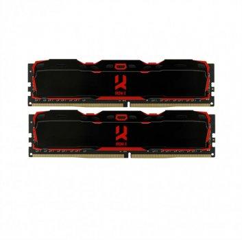 Пам'ять DDR4 8Gb x 2 (16Gb Kit), 3000 MHz, Goodram Iridium X, Black, 16-18-18, з радіатором (IR-X3000D464L16S/16GDC)