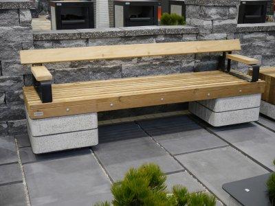 Лавка Паркова-садова Золотой Мандарин Модерн на бетонних ніжках 820*560*2300 Антивандальна
