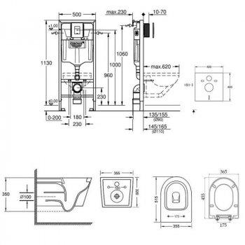 Набір інсталяція 5 в 1 Grohe Rapid SL 38827000 + унітаз з сидінням Qtap Swan QT16335178W