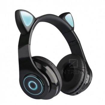 Беспроводные наушники детские складние Wireless headphones Cat ear CXT-B39 c Bluetooth гарнитурой 5.0 MicroSD до 32 Гб с кошачьими ушками и LED подсветкой, Черный