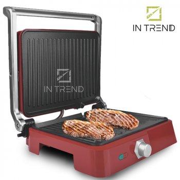 Контактний Електричний гриль DSP KB1049 1800 W притискної від мережі - електро-гриль зі знімним піддоном для приготування м'яса стейків овочів і риби з антипригарним покриттям, Червоний
