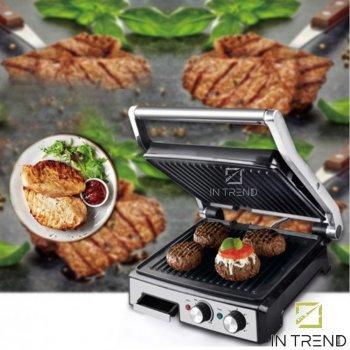 Електричний Гриль DSP KB 2000W професійний притискної з функцією контролю температури і антипригарним покриттям для приготування м'яса, овочів і риби, Сріблястий