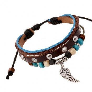 Плетеный кожаный браслет Крыло DiaDemaGrand Коричневый с голубым (01152975-9-5)