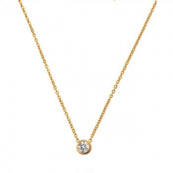 Украшение на шею Изящество DiaDemaGrand Золотой с белым камнем (101776-8-2)