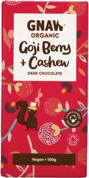 Шоколад Gnaw черный с ягодами годжи и кешью Органический 100 г (5060463491895)