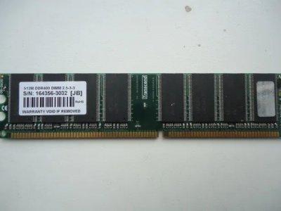 Оперативна пам'ять 512 МБ, DDR, Transcend (для настільних ПК, 400 МГц, 2.5, CL3, TS64MLD64V3J) БО