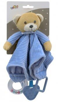 Іграшка-притулянка м'яка Tulilo Ведмедик синій з брязкальцем і прорізувачем