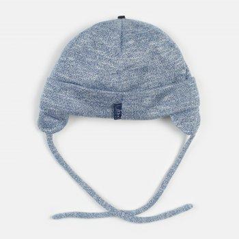 Демисезонная шапка с завязками Elf-kids Каспер 46 см Синяя меланж (ROZ6400046160)