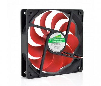 Вентилятор Merlion 12025 (CC-120*120*25/2/14421), 120x120x25мм, 4-pin, Black/Red