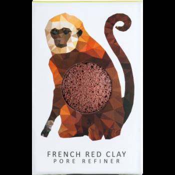 Спонж для особи Konjac sponge з чистого конжаку і червоною глиною маленький (тропічна мавпа)