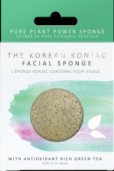 Спонж для особи Konjac sponge з конжаку і зеленим чаєм преміум (в коробці)