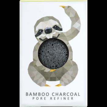 Спонж для особи Konjac sponge з чистого конжаку і бамбуковим вугіллям маленький (тропічний лінивець)