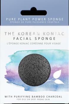Спонж для особи Konjac sponge з конжаку і бабмуковим вугіллям преміум (в коробці)