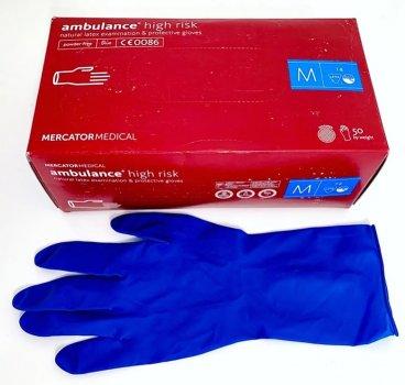 Перчатки Латексные Опудренные MERCATOR Синие M (50 шт)