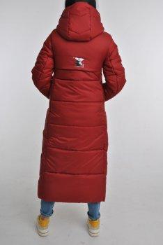 Зимняя длинная теплая макси-куртка с капюшоном,в темно-красном цвете