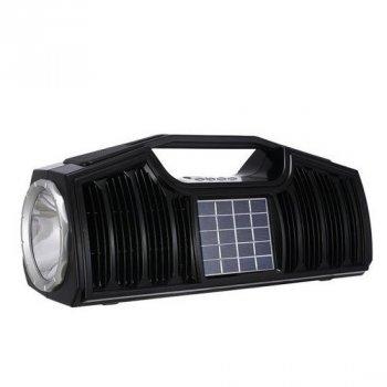Портативная bluetooth колонка GOLON RX-BT170S с мощным фонариком и солнечной батареей Черная