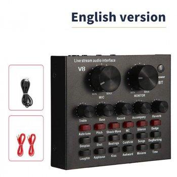 Зовнішня звукова карта адаптер аудіоінтерфейс Bluetooth Фантомне живлення Live Sound Card V8 USB-гарнітура для мікрофону