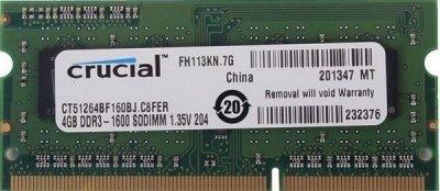 Пам'ять SoDDR3 4GB Crucial 1600MHz PC3-12800 1.35 V (CT51264BF160B)