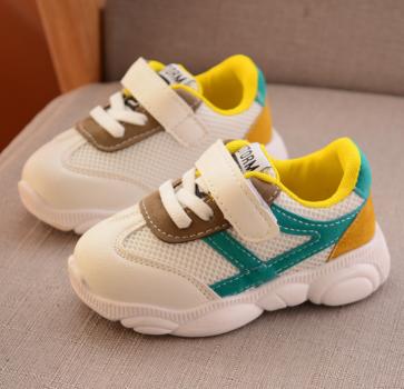 Детские белые кроссовки с цветными вставками цвет Желтый
