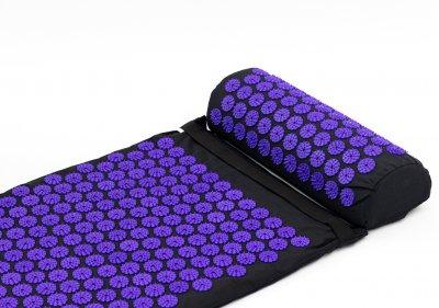 Набір Аплікатор Кузнєцова масажний акупунктурний килимок + подушка масажер для спини/ніг OSPORT Pro Чорно-фіолетовий (n-0006)