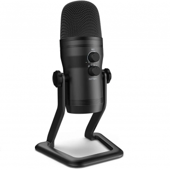 Мікрофон конденсаторний Fifine K690 USB + 4 діаграмами спрямованості + підставка Чорний