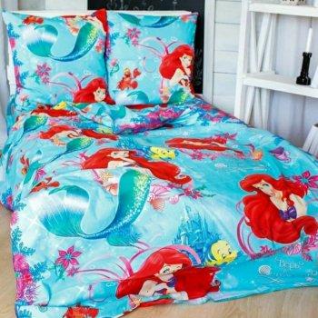 Комплект детское постельное белье полуторка Тиротекс Русалочка Ариэль бирюза