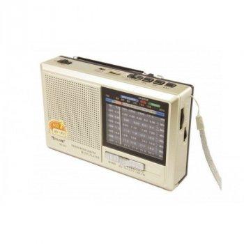 Акустическая система Golon аккумуляторный радиоприемник колонка с FM радио с фонариком MP3 USB SD Золотистый (RX-321)