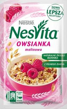 Упаковка каші вівсяної Nestle NesVita солодка з молоком і шматочками малини 21 шт. х 45 г (7613036971003)