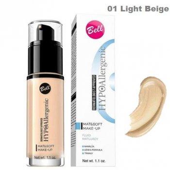 Гипоаллергенный тональный крем Bell Cosmetics HypoAllergenic Mat & Soft матирующий флюид № 01 Light Beige