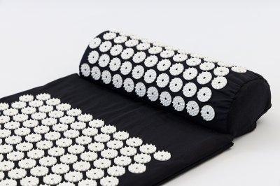 Килимок + подушка (валик) аплікатор Кузнєцова Масажний масажер для спини/ніг OSPORT (apl-011) Чорно-білий