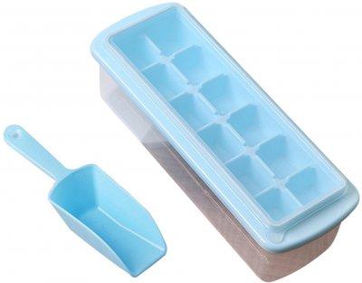 Форма для льда Kitchenio с контейнером и лопаткой 27 x 10 см Голубая (2000992407625)