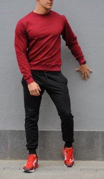 Мужской спортивный костюм свитшот и штаны KML MG1024 Черный с бордовым