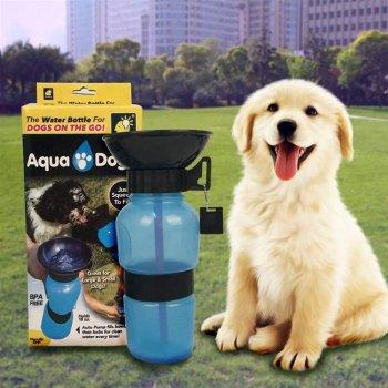 Поїлка для собак Aqua Dog EL 1066 дорожня на 537 мл м'яка і компактна Блакитна (12053)