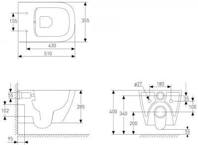 Унітаз підвісний VOLLE Solo Rimless 13-55-111 із сидінням Slim Soft Close антрацит матовий