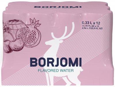 Упаковка минеральной воды Borjomi Флейворд Вотер Вишня-Гранат 0.33 л х 12 шт (4860019002435)