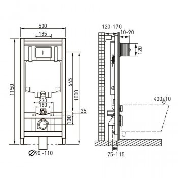 VOLLE MASTER комплект инсталляциидляунитаза4в1(инсталляция, крепления, прокладка, клавишахром)